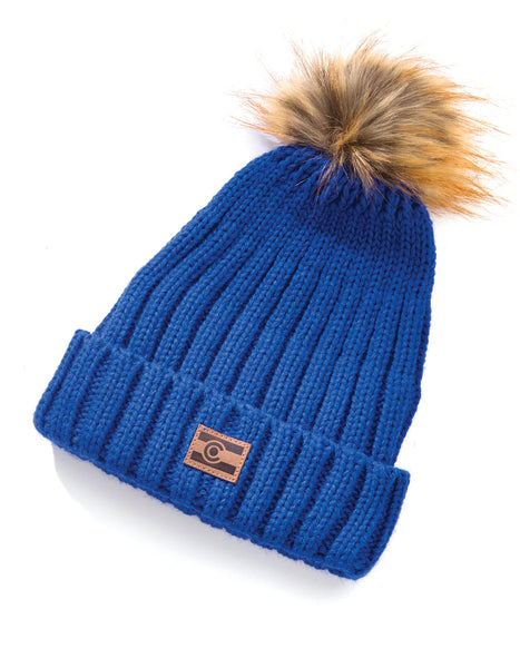 Colorado Ribbed Knit Beanie - Blue
