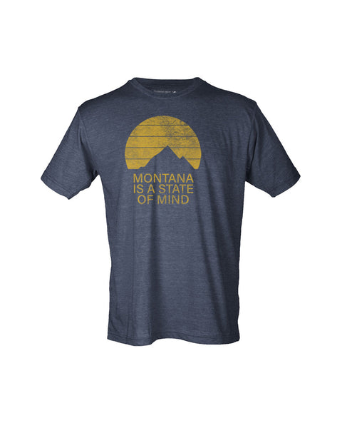 Montana is a State of Mind  - Men's Heather Navy Tee