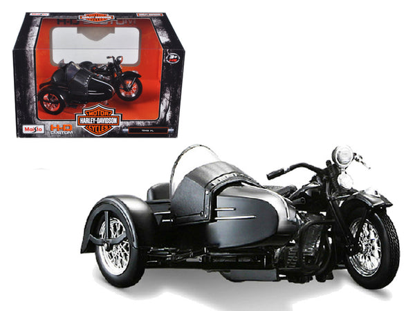 1948 Harley Davidson FL with Side Car Black Motorcycle Model 1/18 Diecast Model by Maisto - BeTovi&co
