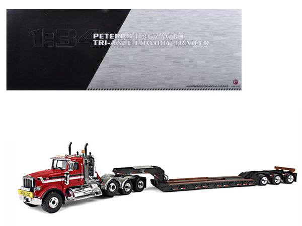 Peterbilt 367 with Tri Axle Lowboy Trailer Red and Black 1/34