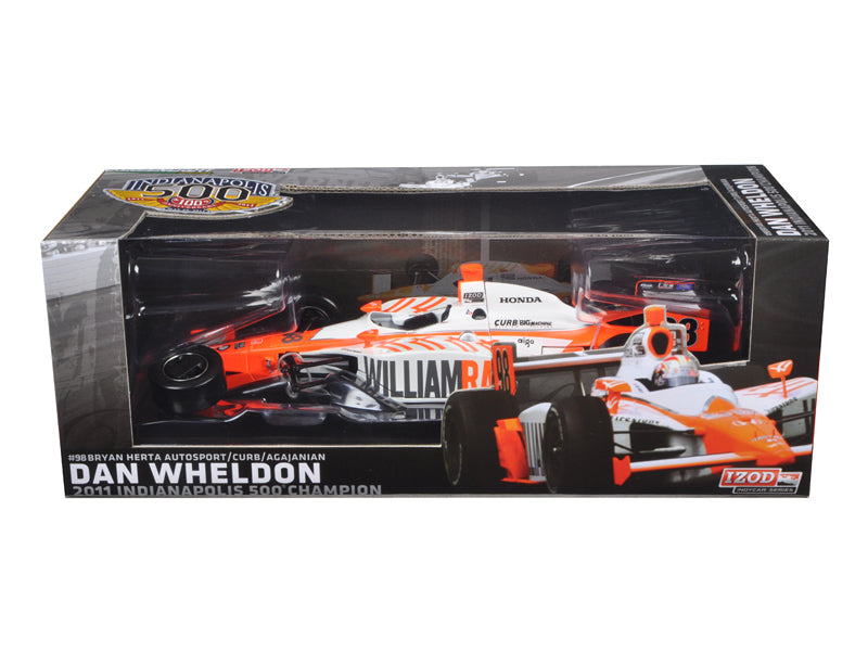2011 Dan Wheldon #98 Bryan Herta Autosport Indy 500 Winner Car Tribute Edition Packaging 1/18 Diecast Model Car by Greenlight - BeTovi&co