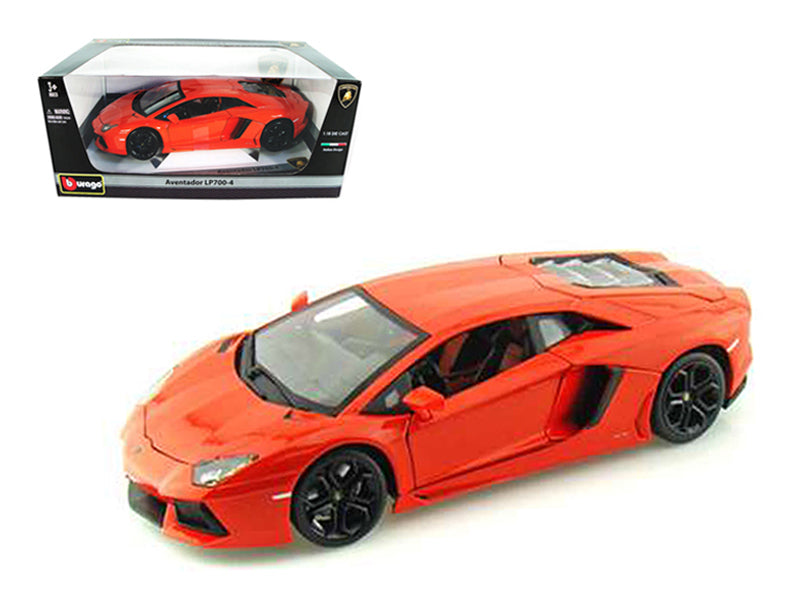 2012 Lamborghini Aventador LP700-4 Orange 1/18 Diecast Model Car by Bburago - BeTovi&co