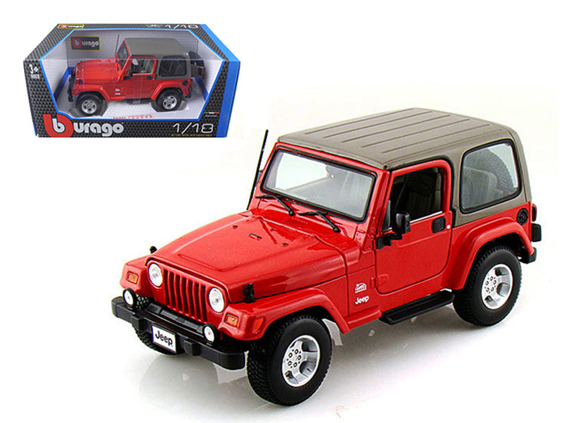 Jeep Wrangler Sahara Red 1/18 Diecast Model Car by Bburago - BeTovi&co