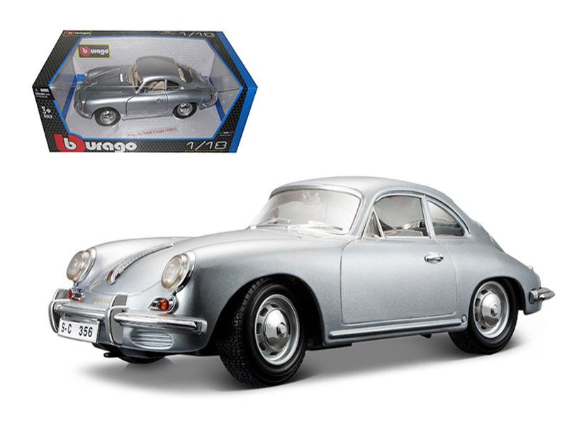 1961 Porsche 356B Coupe Silver 1/18 Diecast Car Model by Bburago - BeTovi&co