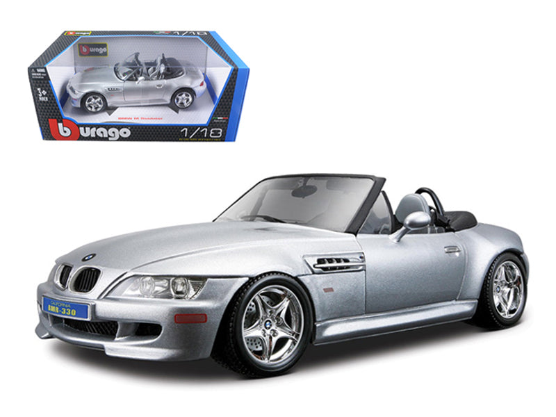 BMW Z3 M Roadster Silver 1/18 Diecast Car Model by Bburago - BeTovi&co