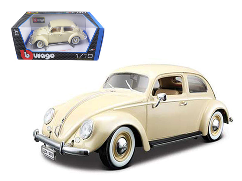 1955 Volkswagen Beetle Kafer Beige 1/18 Diecast Car Model by Bburago - BeTovi&co