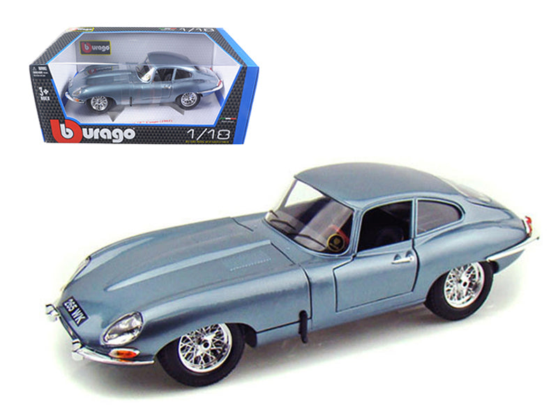 1961 Jaguar E Type Coupe Blue 1/18 Diecast Model Car by Bburago - BeTovi&co