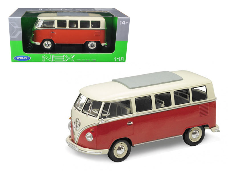 1963 Volkswagen Microbus T1 Bus Red 1/18 Diecast Model Car by Welly - BeTovi&co