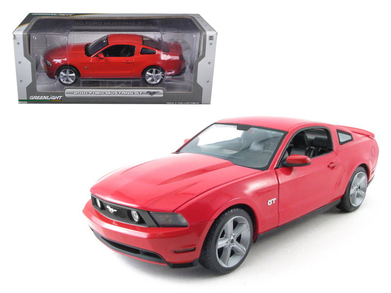 2010 Ford Mustang GT Coupe Torch Red With Charcoal Black Interior With Cashmere White Stripes 1/18 Diecast Car Model by Greenlight - BeTovi&co