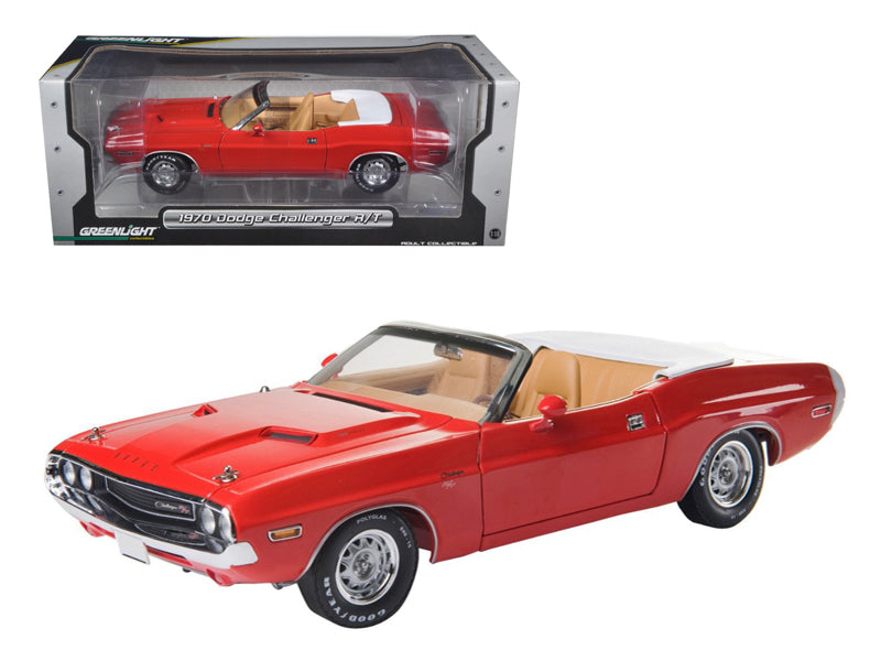 1970 Dodge Challenger R/T Convertible Rallye Red 1/18 Diecast Car Model by Greenlight - BeTovi&co
