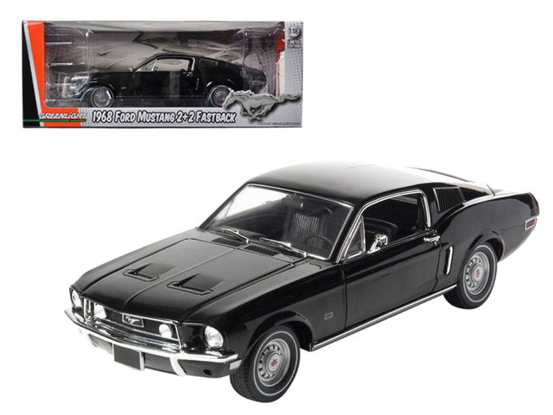 1968 Ford Mustang GT 2+2 Fastback Black Limited Edition 1 of 1800 Produced Worldwide 1/18 Diecast Model Car by Greenlight - BeTovi&co