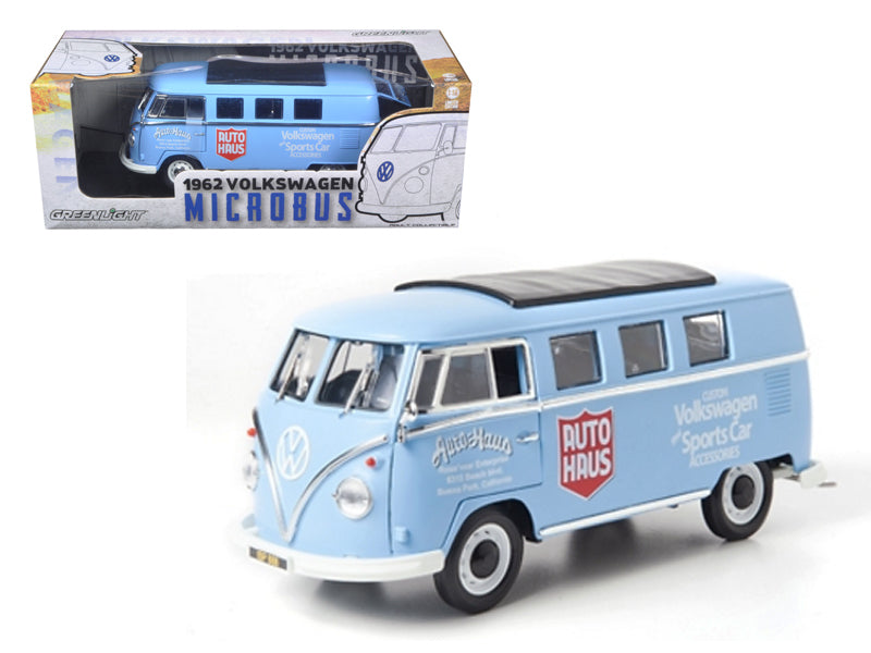 "1962 Volkswagen Microbus \Auto Haus"" Blue 1/18 Diecast Model Car by Greenlight"" - BeTovi&co"