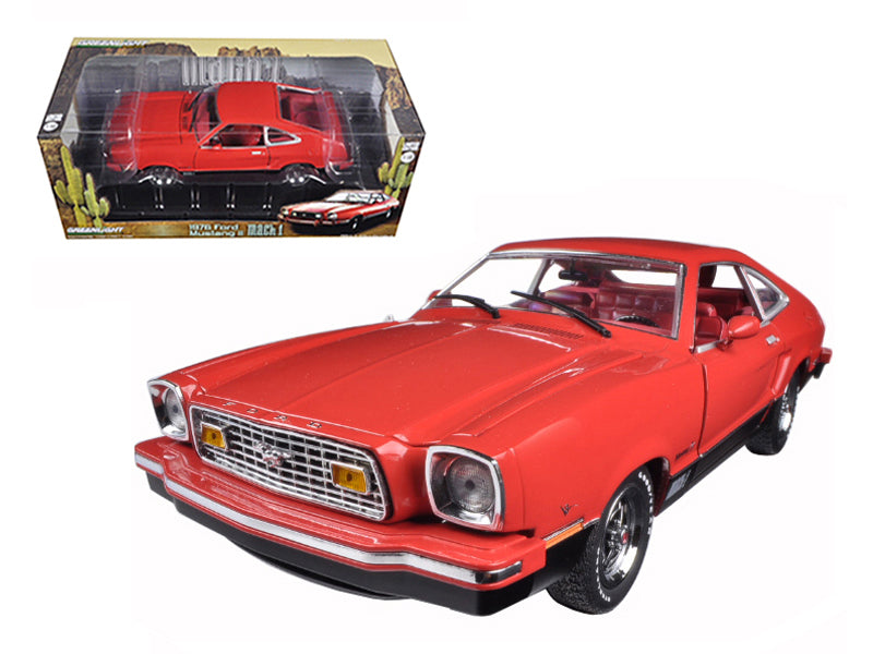 1976 Ford Mustang II Mach 1 Red with Black 1/18 Diecast Car Model by Greenlight - BeTovi&co