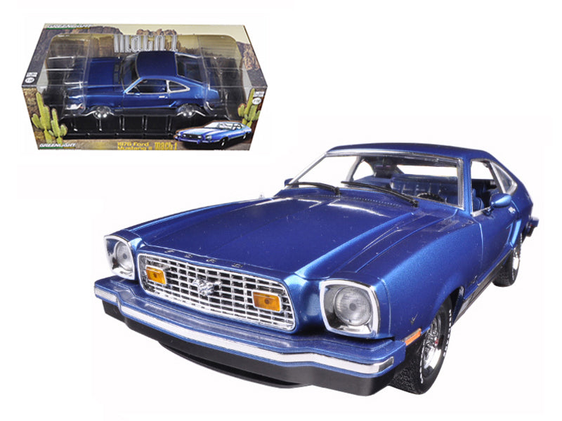 1976 Ford Mustang II Mach 1 Blue with Black 1/18 Diecast Model Car by Greenlight - BeTovi&co