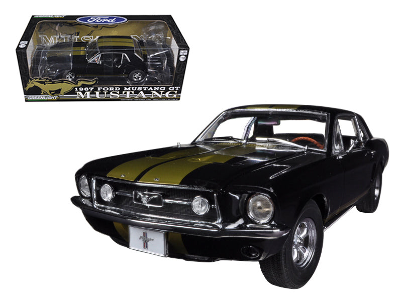 1967 Ford Mustang Coupe Black with Gold Stripes 1/18 Diecast Car Model by Greenlight - BeTovi&co