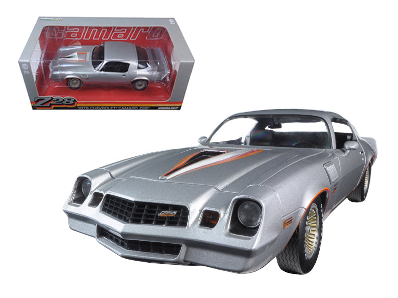 1978 Chevrolet Camaro Z/28 Silver Metallic with Orange Stripes 1/18 Diecast Model Car by Greenlight - BeTovi&co