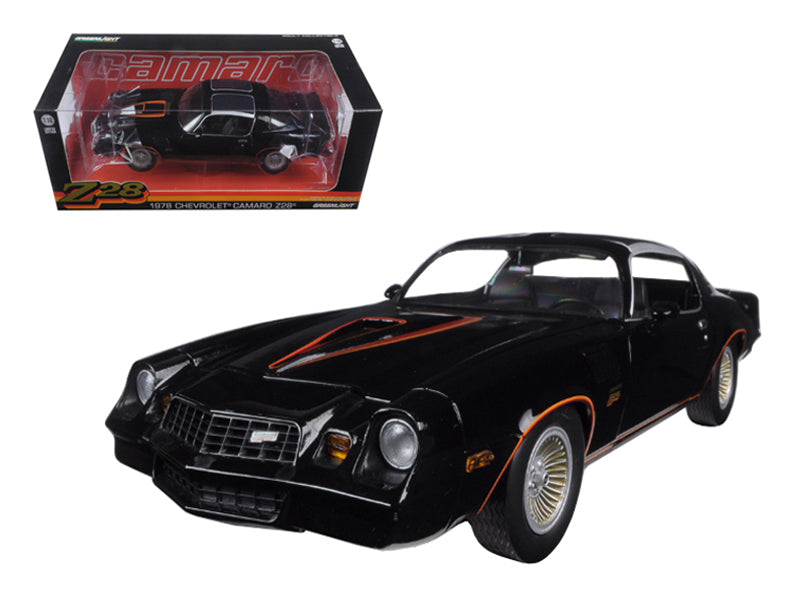 1978 Chevrolet Camaro Z/28 Black with Orange Stripes & Black Interior 1/18 Diecast Model Car by Greenlight - BeTovi&co