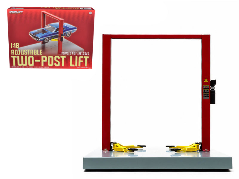 Two Post Lift Red / Yellow For 1/18 Scale Diecast Model Cars by Greenlight - BeTovi&co