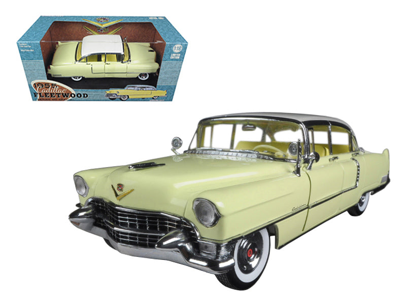 1955 Cadillac Fleetwood Series 60 Yellow with White Roof 1/18 Diecast Model Car by Greenlight - BeTovi&co