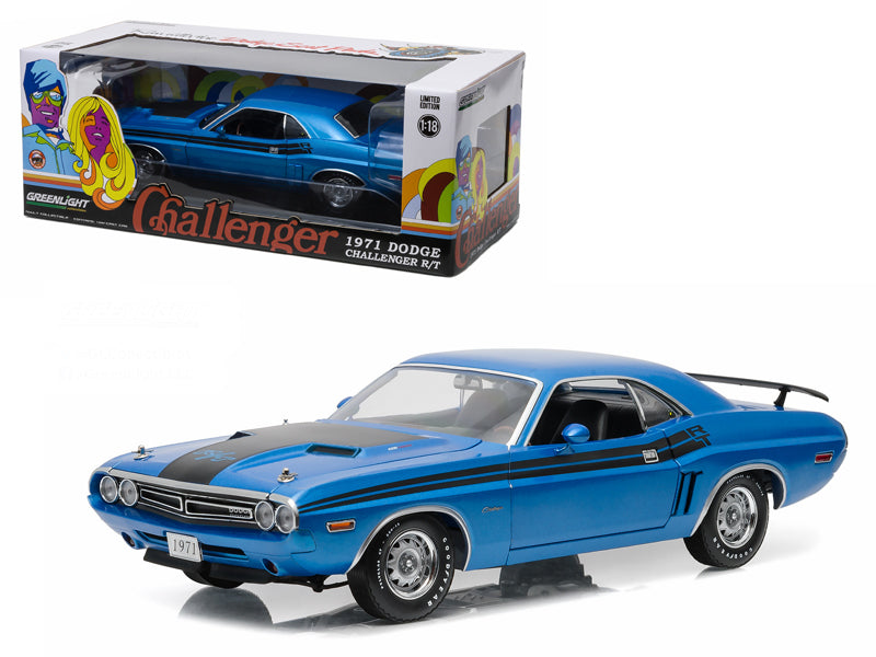 1971 Dodge Challenger HEMI R/T B-5 Blue 1/18 Diecast Model Car by Greenlight - BeTovi&co