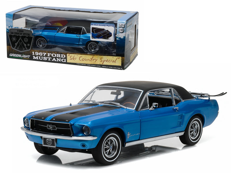 1967 Ford Mustang Coupe 'Ski Country Special' Vail Blue 1/18 Diecast Model Car  by Greenlight - BeTovi&co