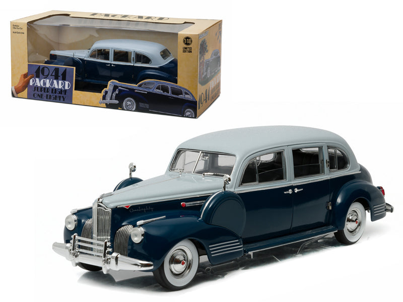 1941 Packard Super Eight One-Eighty Silver French Gray Metallic Duco and Barola Blue 1/18 Diecast Model Car by Greenlight - BeTovi&co