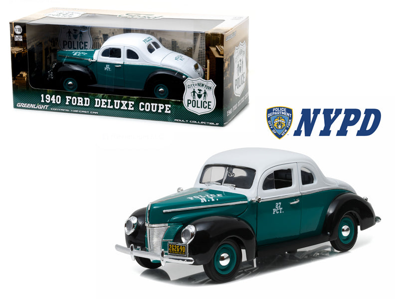 1940 Ford Deluxe Coupe New York City Police Department (NYPD) 1/18 Diecast Model Car by Greenlight - BeTovi&co