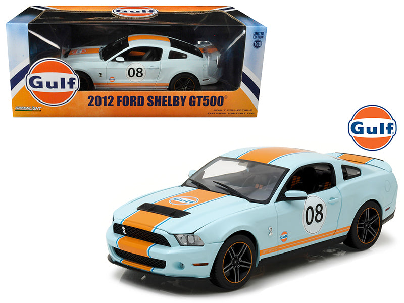 2012 Ford Mustang Shelby GT500 'Gulf' Oil #08 1/18 Diecast Model Car by Greenlight - BeTovi&co