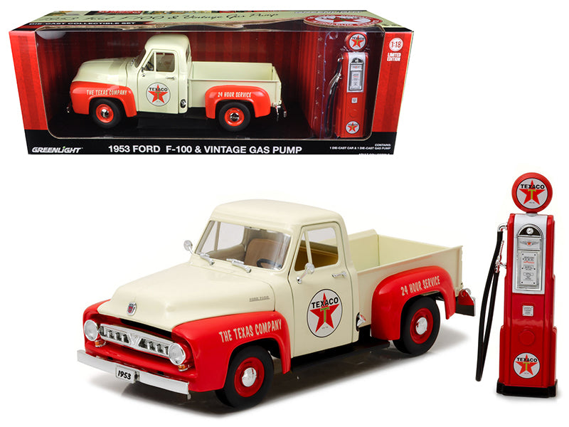 1953 Ford F-100 Pickup Truck Texaco with Vintage Texaco Gas Pump 1/18 Diecast Model Car by Greenlight - BeTovi&co