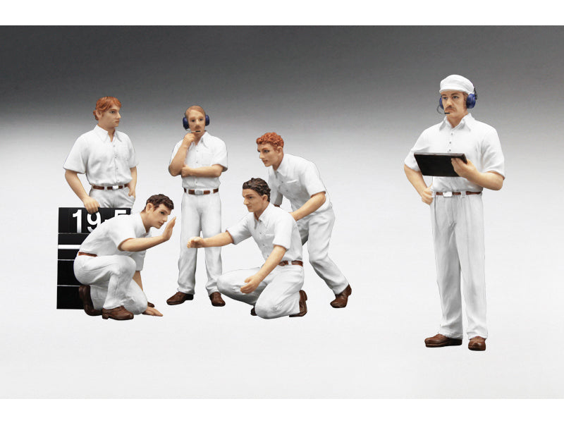 F1 Pit Crew Figures Classic Style Blank White Set of 6pc 1/18 by True Scale Miniatures - BeTovi&co
