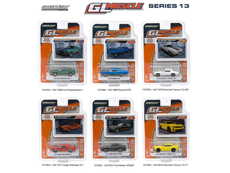 Greenlight Muscle / Release 13, 6pc Diecast Car Set 1/64 by Greenlight - BeTovi&co