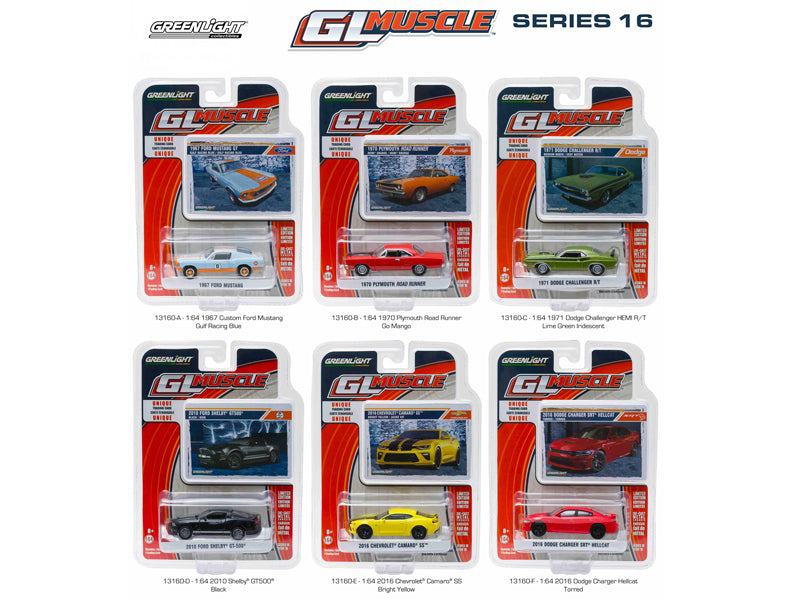 Greenlight Muscle Series 16, 6pc Set 1/64 Diecast Model Cars by Greenlight - BeTovi&co