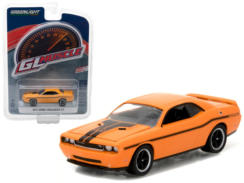 2014 Dodge Challenger R/T Header Orange with Mopar Stripe Kit 1/64 Diecast Model Car by Greenlight - BeTovi&co