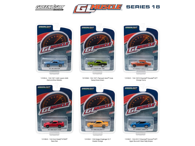 Greenlight Muscle Series 18, 6pc Diecast Car Set 1/64 Diecast Model Cars by Greenlight - BeTovi&co