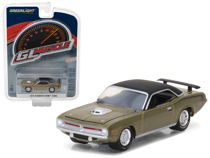 1970 Plymouth HEMI Cuda Citron Gold Greenlight Muscle Series 19 1/64 Diecast Model Car by Greenlight - BeTovi&co