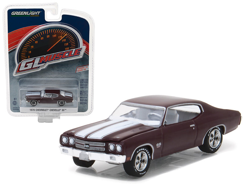 1970 Chevrolet Chevelle SS 454 Black Cherry Greenlight Muscle Series 19 1/64 Diecast Model Car by Greenlight - BeTovi&co