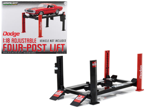 "Four Post Lift ""Dodge"" for 1/18 Scale Diecast Model Cars"
