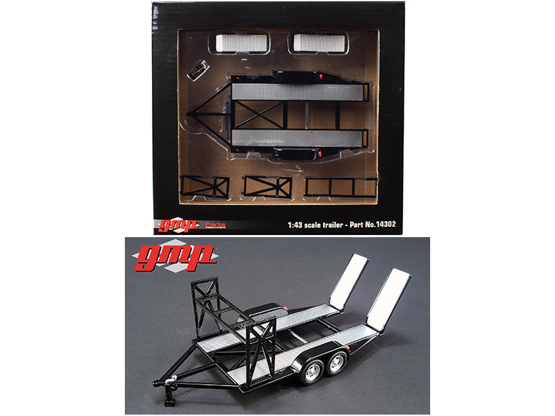 Tandem Car Trailer with Tire Rack Black For 1/43 Scale Diecast Model Cars by GMP - BeTovi&co