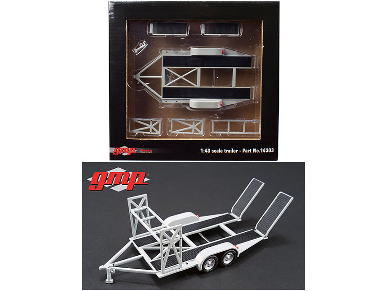 Tandem Car Trailer with Tire Rack Grey For 1/43 Scale Diecast Model Cars by GMP - BeTovi&co