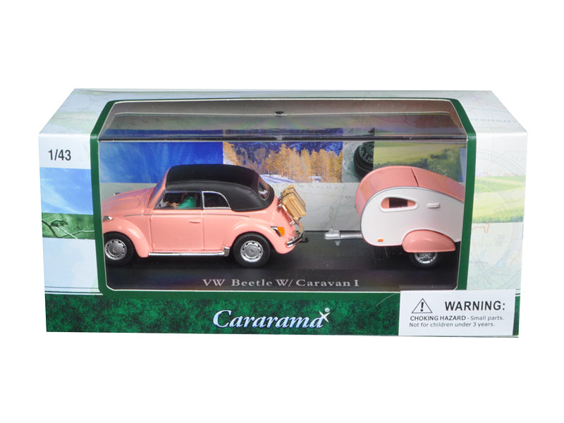 Volkswagen Beetle Pink with Caravan I Trailer and Display Case 1/43 Diecast Car Model by Cararama - BeTovi&co
