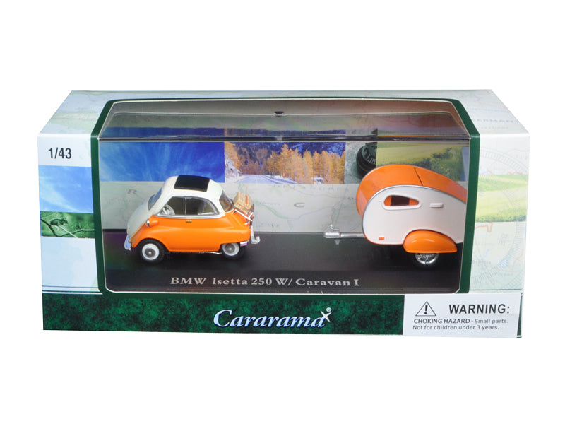 BMW Isetta 250 Orange with Caravan I Trailer and Display Case 1/43 Diecast Car Model by Cararama - BeTovi&co