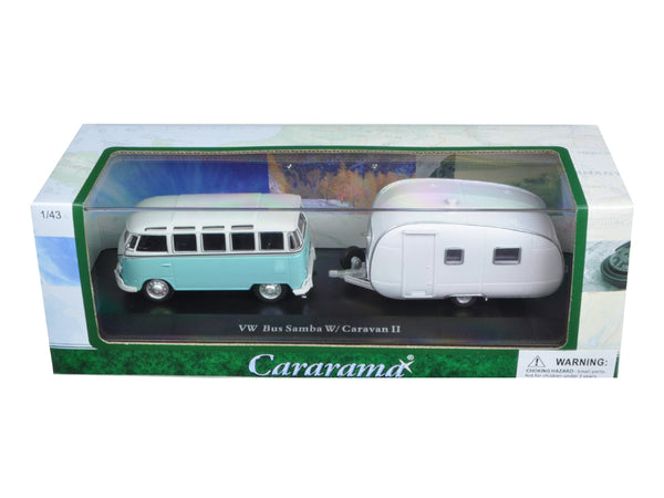 Volkswagen Bus Samba with Caravan II Trailer in Display Case 1/43 Diecast Car Model by Cararama - BeTovi&co