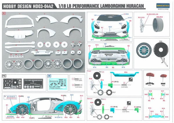 LB Lamborghini Huracan RESIN Model Kit 1:18