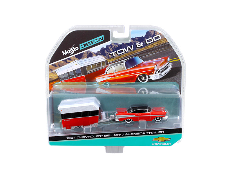 1957 Chevrolet Bel Air with Alameda Trailer Red Tow & Go 1/64 Diecast Model by Maisto - BeTovi&co