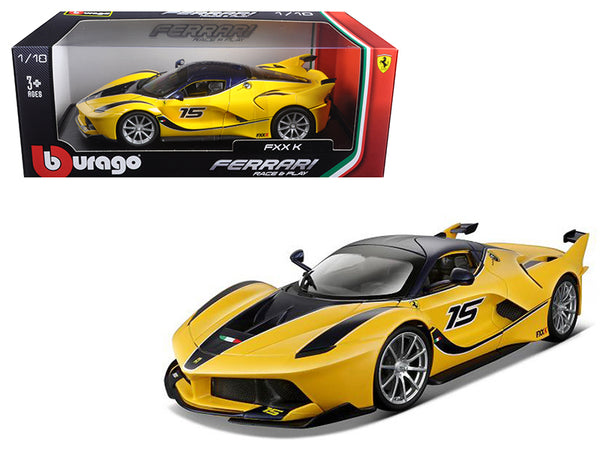 Ferrari FXX-K #15 Yellow 1/18 Diecast Model Car by Bburago - BeTovi&co