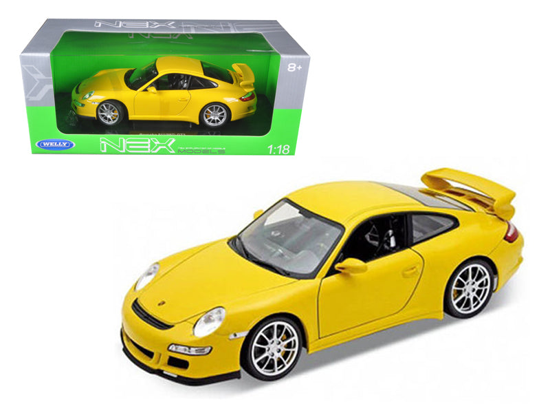 Porsche 911 (997) GT3 Yellow 1/18 Diecast Car Model by Welly - BeTovi&co