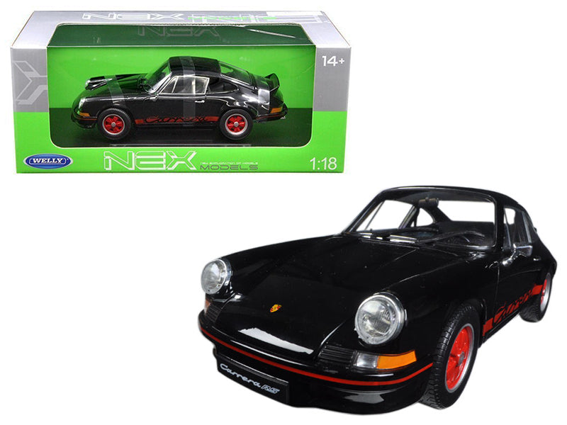 1973 Porsche 911 Carrera RS Black with Red Stripes 1/18 Diecast Model Car by Welly - BeTovi&co
