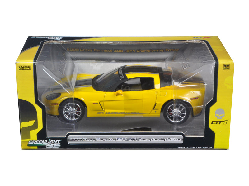 2009 Chevrolet Corvette C6 Z06 GT1 Jake Edition Yellow 1/24 Diecast Car Model by Greenlight - BeTovi&co