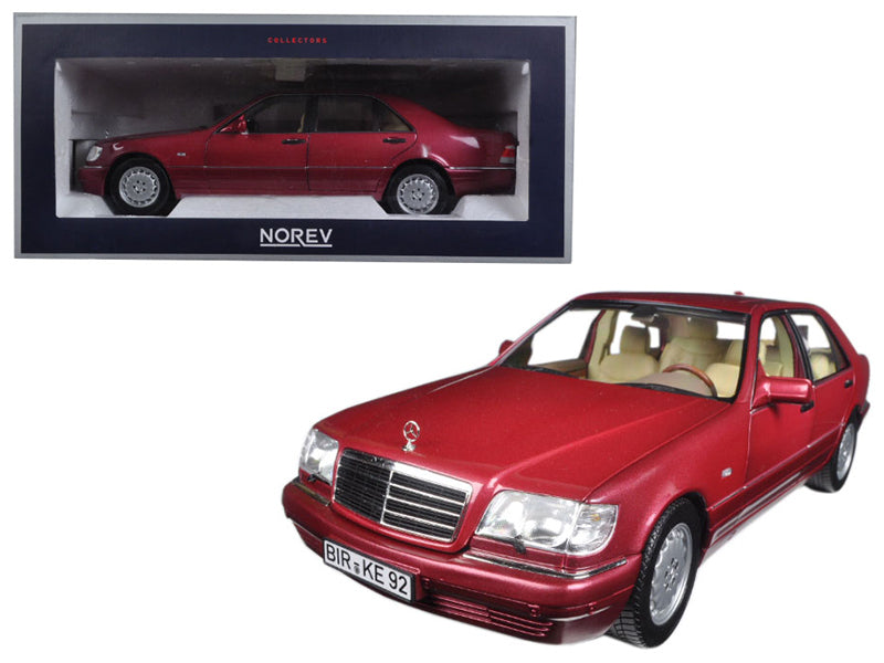 1997 Mercedes S500 Red Metallic 1/18 Diecast Model Car by Norev - BeTovi&co