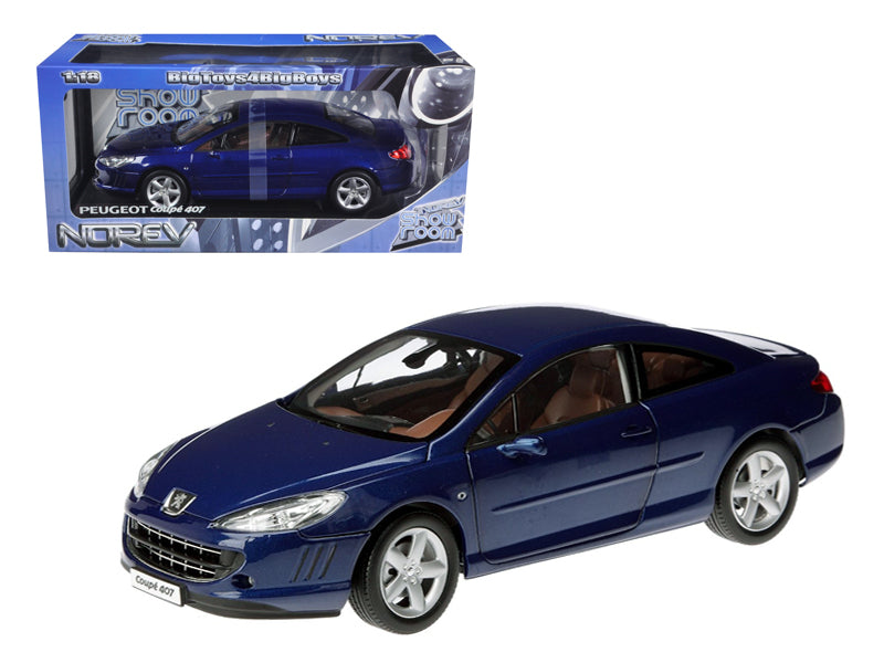 2005 Peugeot 407 Coupe Blue 1/18 Diecast Model Car by Norev - BeTovi&co
